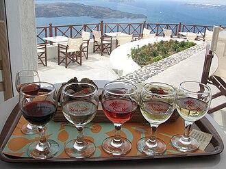 Santorini (wine) - An assortment of Santorini wines