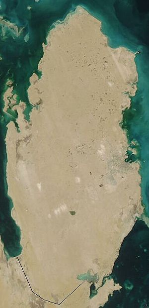 Outline of Qatar - An enlargeable satellite image of Qatar