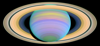 This image of the rings of Saturn is an example of the application of ultraviolet photography in astronomy Saturn's Rings in Ultraviolet Light.png