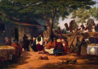 Scene af det offentlige liv i Orienten. Motiv ved karavanebroen i nærheden af Smyrma.