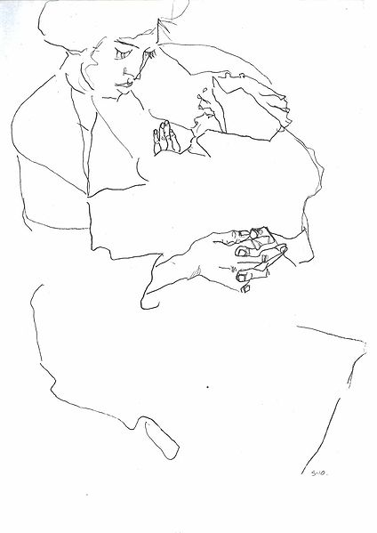 Contour Line Drawing Definition In Art : File schiele mutter mit kind g wikimedia commons