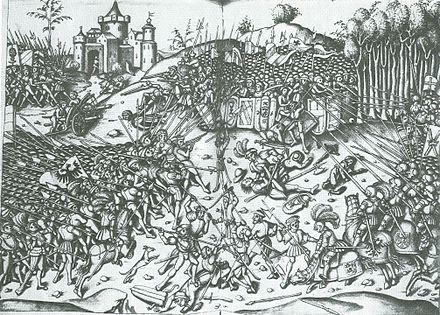 Maximilian personally led his troops at the battle of Wenzenbach in 1504. Schlacht Schoenberg.jpg