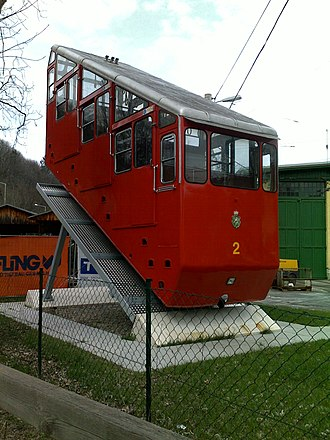 Schlossbergbahn (Graz) - Second generation car at Graz Tramway Museum