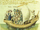 The founders of Scotland of late medieval legend, Scota with Goídel Glas, voyaging from Egypt, as depicted in a 15th century manuscript of the Scotichronicon of Walter Bower.