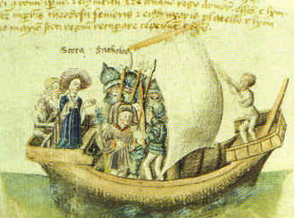 Scotichronicon - The founders of Scotland of medieval legend, Scota with Goídel Glas, voyaging from Egypt, as depicted in a 15th-century manuscript of the Scotichronicon