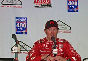 Scott Dixon - Dixon talks to the press after winning the Pocono IndyCar 400 in 2013
