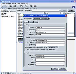 SeaMonkey - Address book in SeaMonkey Mail 1.1.16