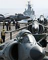 Sea Harrier FA2's of 801 Naval Air Squadron landed on the flight deck of HMS Invincible MOD 45146087.jpg