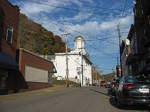 Pomeroy, Ohio - Second Street downtown, with the courthouse in the middle