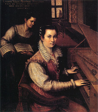 Lavinia Fontana - Self-Portrait at the Clavichord with a Servant, 1577, Oil on canvas, 27 x 24 cm, Rome, Accademia di San Luca