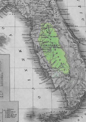 Treaty of Payne's Landing - A contemporary map of the reservation assigned to the Seminole Indians in the Treaty of Moultrie Creek