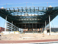 Senedd building still being constructed but with main frame completed