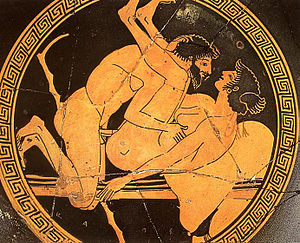 Sexual scene at a red-figure tondo of a kylix at the Museo nazionale (Tarquinia).jpg