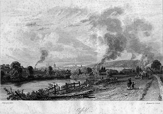 History of Sheffield - Sheffield viewed from Attercliffe Road, c. 1819.