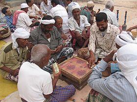 Shibam people playing backgammon.JPG