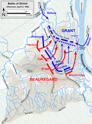 Lew Wallace - Map of the Battle of Shiloh, afternoon of April 6, 1862.
