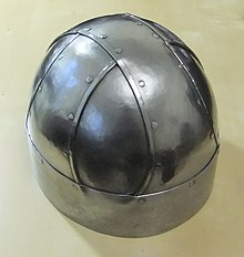 Colour photograph of a replica of the Shorwell helmet
