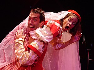 The Taming of the Shrew - Petruchio (Kevin Black) and Katherina (Emily Jordan) from the 2003 Carmel Shakespeare Festival production at the Forest Theater.