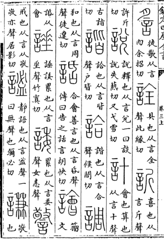 Shuowen Jiezi - Page from a copy of a Song dynasty edition of the Shuowen, showing characters with the 言 element, including 說 shuō