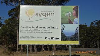 Duns Creek, New South Wales - Image: Sign advertising land at Duns Creek