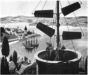 Semaphore line - Illustration of signaling by semaphore in 18th century France. The operators would move the semaphore arms to successive positions to spell out text messages in semaphore code, and the people in the next tower would read them.