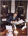 Signing Cuba Quarantine Proclamation. President Kennedy. White House, Oval Office. - NARA - 194218.jpg