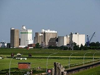 Grain elevators in the port of Husum, Germany