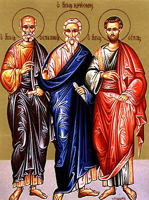 Crescens - Icon of the Apostle Crescens (center), with Apostles Silvanus and Silas of the Seventy.