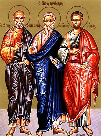 Silvanus of the Seventy - Icon of Apostle Silvanus (left), with Crescens and Silas of the Seventy.