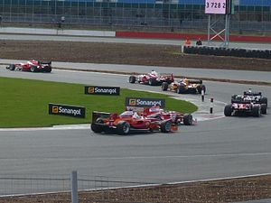 2010 Superleague Formula season - Race action at Brooklands corner, Silverstone at Superleague Formula Round 1