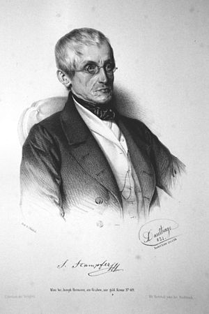Simon von Stampfer - Simon STampfer, Lithograph by Adolf Dauthage, 1853