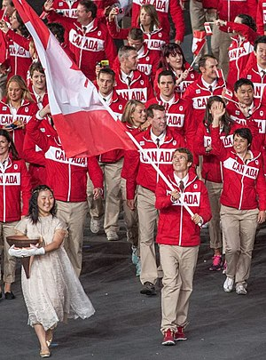Simon Whitfield - Whitfield as flag bearer at the 2012 Olympic Opening Ceremonies