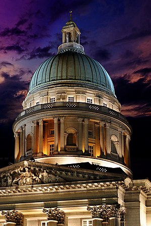 Old Supreme Court Building, Singapore - Dome of the old Supreme Court Building at night (2011)