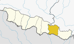 Siraha District (dark yellow) in Province No. 2