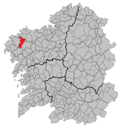 Location of Zas within Galicia