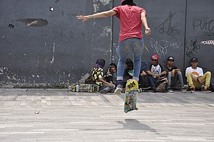 Shove-it - Image: Skateboarding at Mexico City Flip 074