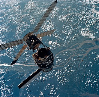 """Solar observatory - Apollo Telescope Mount was a manned solar observatory in orbit on Skylab in the 1970s (ATM at the center of the """"X"""")"""