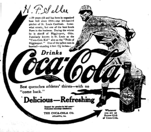 Slim Sallee - Sallee in a Coca-Cola ad from 1914.
