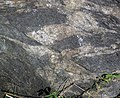Small fault in gneiss (Precambrian; Rt. 93 roadcut next to the New River, Mouth of Wilson, Virginia, USA) 1 (30112551583).jpg