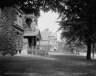 Rogers and MacFarlane - The Samuel Smith House (midground) c. 1900, looking north from the corner of Woodward and Warren, Detroit, Michigan
