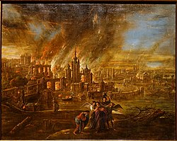 Sodom and Gomorrah afire, by Jacob Jacobsz. de Wet d. J., probably Köln, c. 1680, oil on canvas - Hessisches Landesmuseum Darmstadt - Darmstadt, Germany - DSC01149.jpg