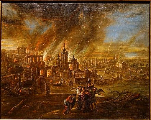 Sodom and Gomorrah afire, by Jacob Jacobsz. de Wet d. J., probably Köln, c. 1680, oil on canvas - Hessisches Landesmuseum Darmstadt - Darmstadt, Germany - DSC01149