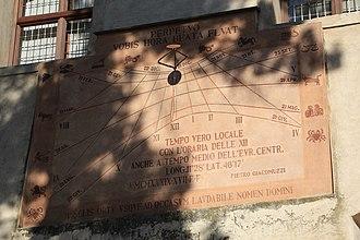 Era Fascista - A sun dial in Cavalese, Trient, South Tyrol dated MCMXXXIX XVII E F