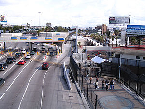 San Ysidro, San Diego - Cars and pedestrians in San Ysidro entering Mexico.