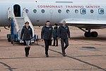 Soyuz MS-11 crew at the airport in Baikonur.jpg