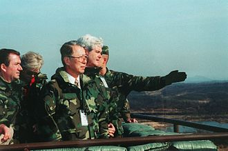 Political positions of Newt Gingrich - Speaker Newt Gingrich, Congressman Jay Kim and Ed Royce (R-Calif.) face North Korea from the Joint Security Area in 1997