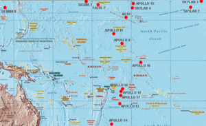 Pago Pago International Airport - Locations of Pacific Ocean splashdowns of American spacecraft.