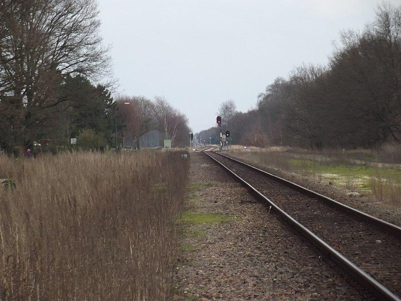 Spoorlijn gezien vanaf Budel-Schoot richting Weert.  In de verte de aftakking naar het industrieterrein van Budel.