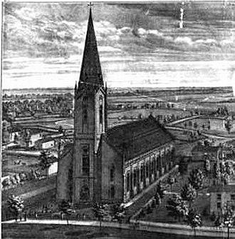 Edina, Missouri - A sketch of St. Joseph's Catholic Church, Edina, Missouri. Circa 1876. The church is still in existence today.