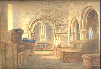 Holt Fleet - St Martin's Church in 1879, by Henry Harris Lines